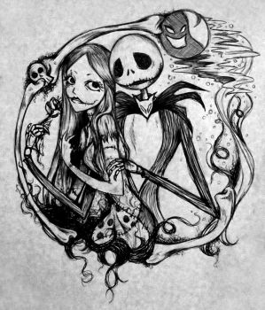 Jack and Sally doodle by KilalaKawa