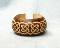 Celtic bangle bracelet wood pyrography woodburned by YANKA-arts-n-crafts