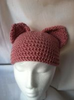 pink crochet kitty hat by NerdStitch