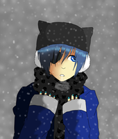 Ciel Phantomhive in the snow by brythefamousretard
