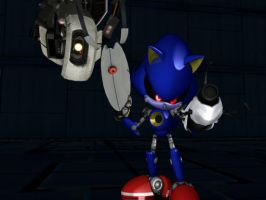 Metal Sonic and GLaDOS by jetknight