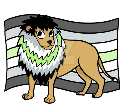 Agender Pride Lion by marzipan-pond