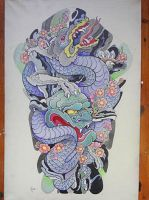 Tattoo design - Dragon, Hanya mask and sakura by Xenija88