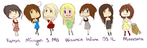 Midwest Female States by TuxBirdee