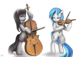 Commission: Octavia and Vinyl Scratch by kankitsuru