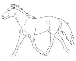 Free trotting horse lineart by Black-Heart-Always