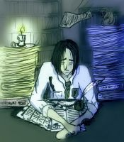 Snape Studying by zoeychick