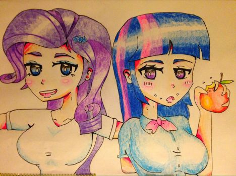 Twilight and Rarity by Eso-chan