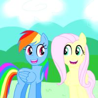 rainbow and fluttershy by Spongebobluvr66