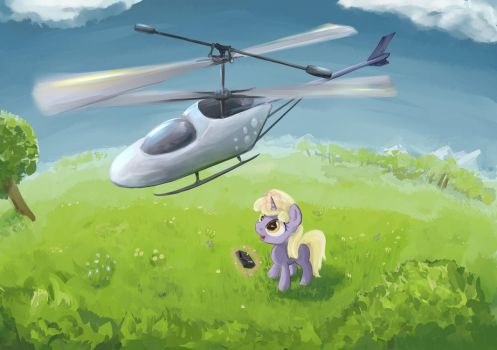 Dinky-with-toy-copter by ScootieBloom