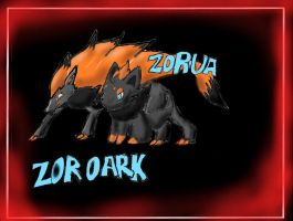 Zoroark and Zorua New pokemon by Srarlight