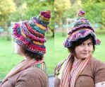 Hippie Boho rainbow Witchy freeform hat by MademoiselleOrtie