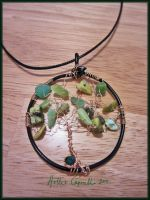 Green tree wire necklace by HollieBollie