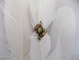 'Autumn leaves' handmade antiqued brass ring by seralune