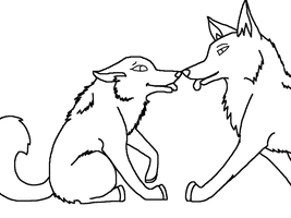 Young Love (Lineart) by 100percentWOLF-LOVER