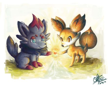 Zorua and Fennekin - Friends Forever by guiltone