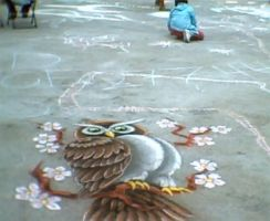 Chalk Art Owl by AmongTheFirst