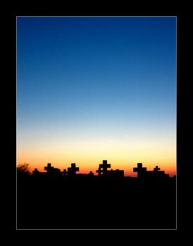 Sunset at the cemetary by virtualdesign