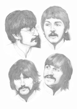 Beatles Sgt Pepper Sketches A3 by Carl-Seager
