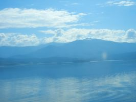 Blue Landscape and Poem by Amaquieria