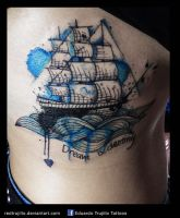 watercolor boat tattoo by redtrujillo
