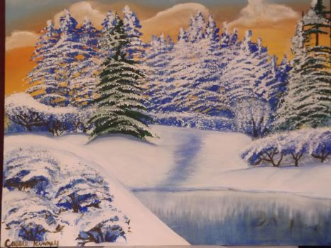 Snowy pines among the lake by sillybunnns