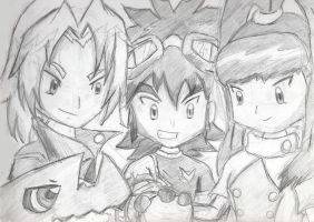 Digimon Xros Wars Anniv Sketch by cutejana17