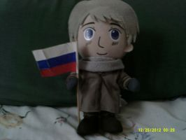 Russia plush with flag by Blackestfang
