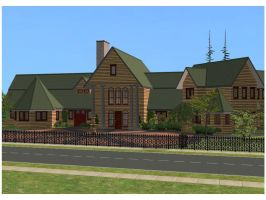 Sims 2 Log Mansion by RamboRocky