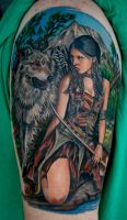 Indian Girl and Wolf by TodoArtist