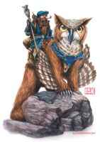 Giltri Barjak the Artisan and his Owlbear, Amis by LucasDurham