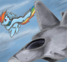 Rainbow Dash v Plane by Hewison