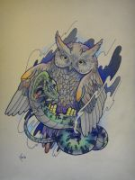 Tattoo design - Owl and snake by Xenija88