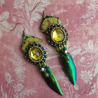 Beaded Beetle Wing Earrings with Vintage Cabochons by Beadmask
