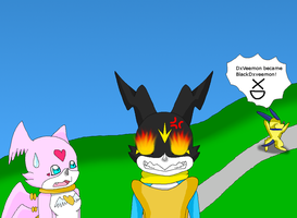 Dxdoggymon has made Dxveemon really mad XD by HeroHeart001