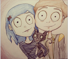 Coraline and Wybie by xLifeIsArt