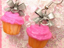 pink cupcake and bow earrings by MotherMayIjewelry