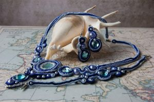 Soutache set sea mirror by Gewandfantasien