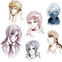 face sketches Naruto by AikaXx