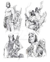 Hellboy sketches by GabeFarber