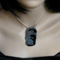 Bead loomed Moai pendant by CatsWire