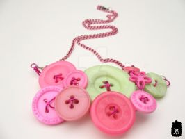 Pink and Green Button Necklace by TheFuzzyPineapple