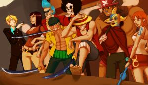 The Straw Hat Crew by smokewithoutmirrors