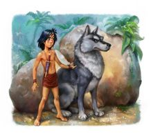Mowgli Illustrations for the Dreamsland book by EldarZakirov