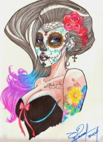 Lady Mexican Skull by MagicianEpicArtist