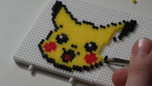 pikachu made with mini hama beads by kitiket100