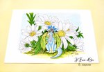 Illustration - Blue Daisy dragon with daisies by rosepeonie