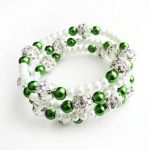 White and Green Glass Pearl Wire Wrap Bracelet by crystaland