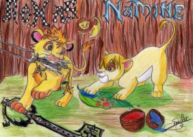 Roxas and Namine lions by SailorMiha