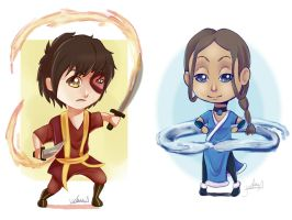 Katara and Zuko by IcaZell